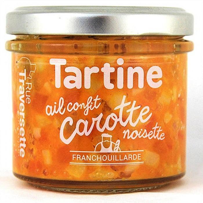 Tartinerie Ail Confit, Carotte, Noisette & Genièvre